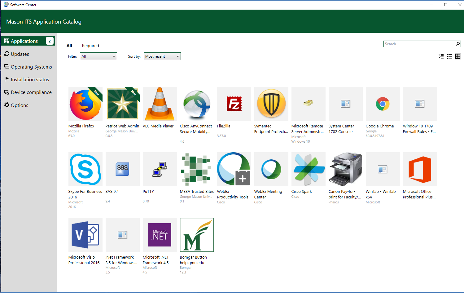 Software Center Interface
