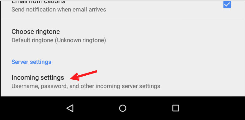 Android incoming email settings