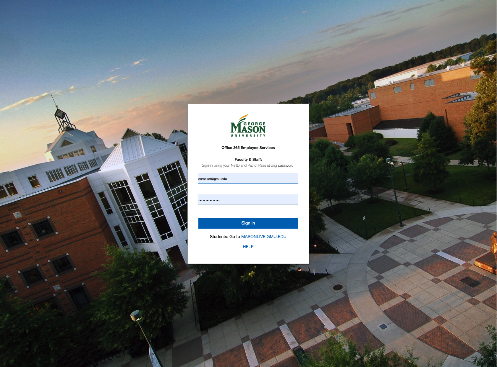 mail.gmu.edu employee log in page