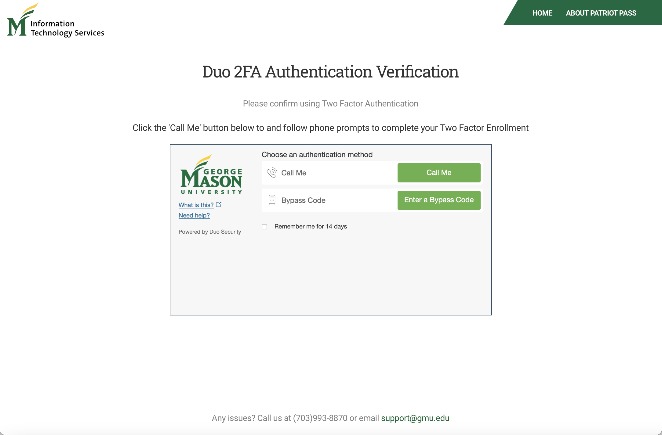 Step 9 Patriot Pass Password 2FA Screen